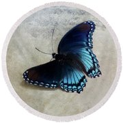 Butterfly Blue On Groovy Round Beach Towel