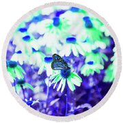 Butterfly Blues Round Beach Towel