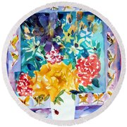 Butterfly Bouquet Round Beach Towel