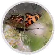 Butterfly Bubbles Round Beach Towel