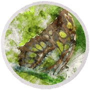 Butterfly Close Up Digital Watercolor On Photograph Round Beach Towel