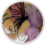 Butterfly Collecting Round Beach Towel