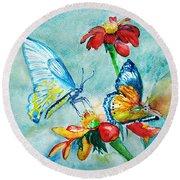 Butterfly Dance Round Beach Towel