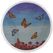 Butterfly Field Round Beach Towel