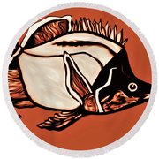 Butterfly Fish In Watercolor Round Beach Towel