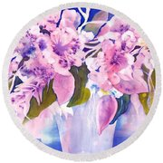 Pink Butterfly Flowers Round Beach Towel