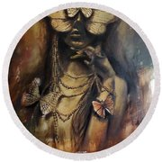 Butterfly Girl.  Round Beach Towel