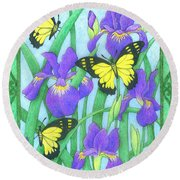 Butterfly Idyll-irises Round Beach Towel