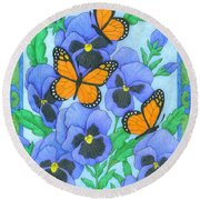 Butterfly Idyll-pansies Round Beach Towel