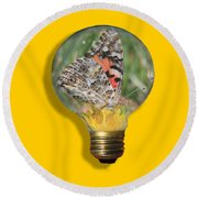 Butterfly In A Bulb II Round Beach Towel by Shane Bechler