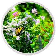 Butterfly In A Garden Round Beach Towel