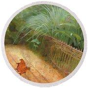 Butterfly In A Small Zen Sand Garden Round Beach Towel