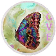 Butterfly In Beige And Teal Round Beach Towel
