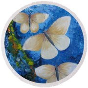 Butterfly In Blue 4 Round Beach Towel