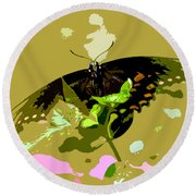 Butterfly In Color Round Beach Towel