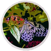 Butterfly In Garden Round Beach Towel