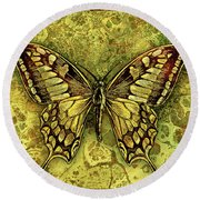 Butterfly In Golds-amber Collection Round Beach Towel