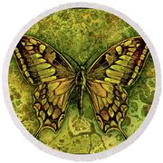 Butterfly In Greens-amber Collection  Round Beach Towel