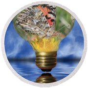 Butterfly In Lightbulb Round Beach Towel