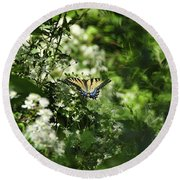 Butterfly In Muted Green Background Round Beach Towel