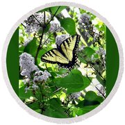 Butterfly In The Lilac No. 1 Round Beach Towel