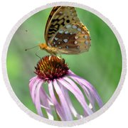 Butterfly In The Wind Round Beach Towel