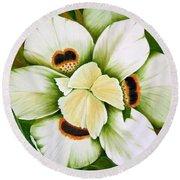 African Butterfly Iris Round Beach Towel