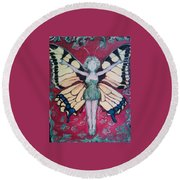 Butterfly Lady Round Beach Towel