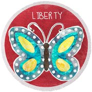 Butterfly Liberty Round Beach Towel