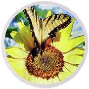 Butterfly Meets Sunflower Round Beach Towel