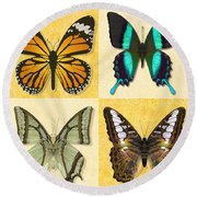 Four Butterfly Montage Round Beach Towel