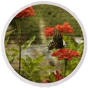 Butterfly Notes Round Beach Towel