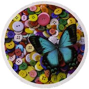 Butterfly On Buttons Round Beach Towel