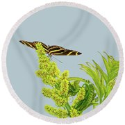 Butterfly On Flower Cluster Round Beach Towel