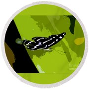 Butterfly On Green Round Beach Towel