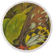 Butterfly On Leaves Round Beach Towel