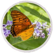 Butterfly On Purple Round Beach Towel