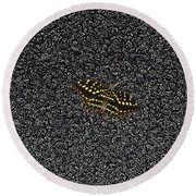 Butterfly On Stone Round Beach Towel