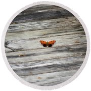 Butterfly On The Dock Round Beach Towel