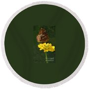 Butterfly On Yellow Round Beach Towel