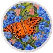 Butterfly Orange Round Beach Towel