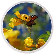 Butterfly Pollinating Flowers  Round Beach Towel