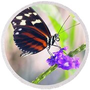 Butterfly Side Profile Round Beach Towel by Garvin Hunter