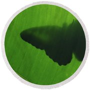 Butterfly Silhouette On Leaf Round Beach Towel
