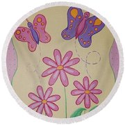 Butterfly Smiles Round Beach Towel
