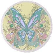 Butterfly Swirls Round Beach Towel