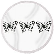 Butterfly Trio  Round Beach Towel