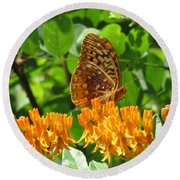 Butterfly Weed Fritillary Round Beach Towel
