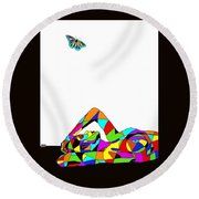 Butterfly With A Nude Round Beach Towel