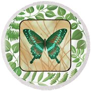 Butterfly With Leaves 2 Round Beach Towel